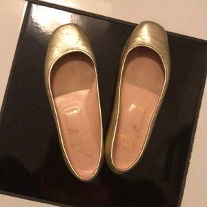 Gold Christian Louboutin Flats